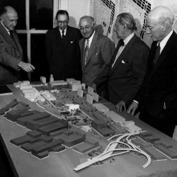 Dr. Burdell, Professors  Pomerantz and Janosky of the City College of New York and Professors Zucker and Shaw of Cooper Union ( left to right) view a student model.