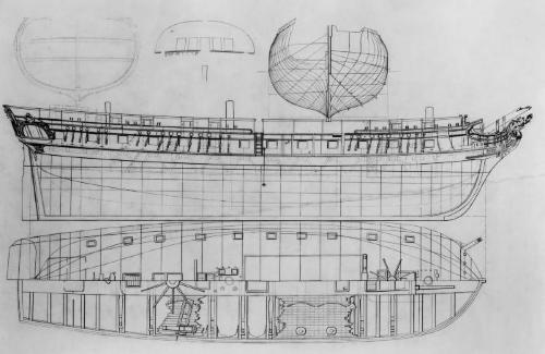 Cross section, ship ornament and study of ship construction.