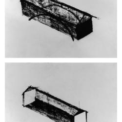 Covered bridge axonometric in charcoal, black and white.