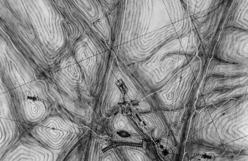 Large landscape drawing, site plan.