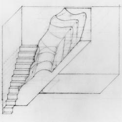 Interpretation of the pot cast as a wall along a stair.