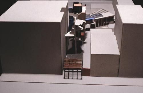 Final model, view from the south, Houston Street.