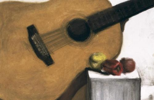 Color drawing of fruit with instrument.