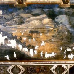 "Cutout #1, Ambrogio Lorenzetti's ""City of Good Government,"" 1338."