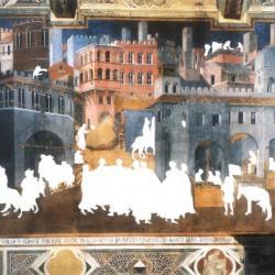 "Cutout #2, Ambrogio Lorenzetti's ""City of Good Government,"" 1338."
