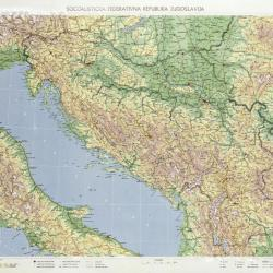 Relief map of form, Yugoslavia.