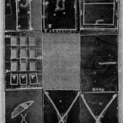 Deck of Cards, monoprint from discarded lithographic tins stitched with wire.