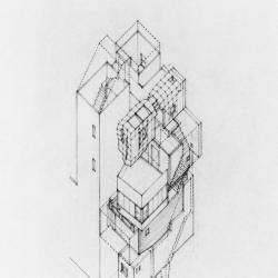 Axonometric of unit adjacent to support towers.