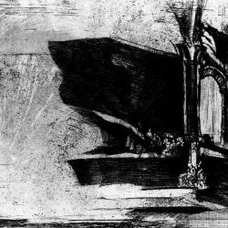 Etching, station of the cross.