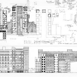 Elevations, sections and plans.